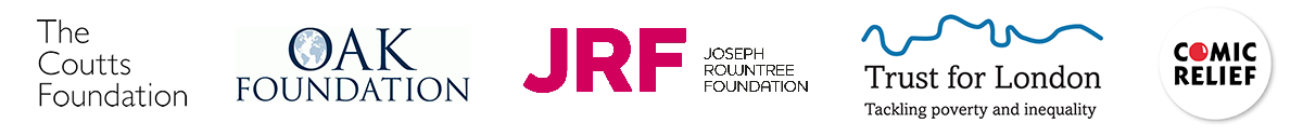 The image shows the logos of Coutts Foundation, Oak Foundation, Joseph Rowntree Foundation, Trust for London and Comic Relief